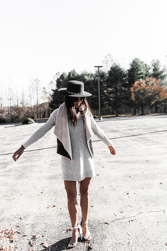 day in my dreams blogger hat sweater dress jacket shoes fall outfits shearling jacket vest felt hat grey dress high heel sandals