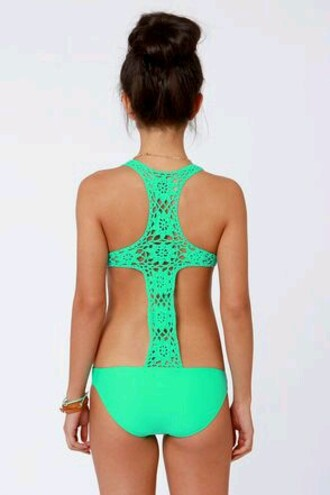 swimwear lace one piece swimsuit teal blue cross back sexy