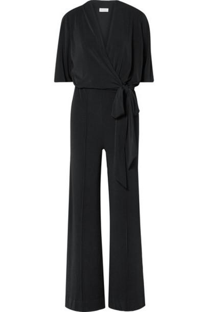 By Malene Birger - Zhou Belted Wrap-effect Stretch-jersey Jumpsuit - Black