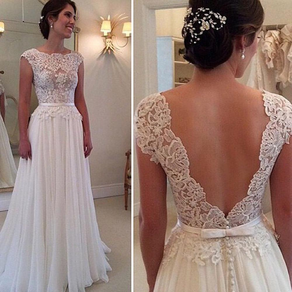 Wedding Dresses For Brides Robe De Mariee Lace Wedding Dresses 2015 Backless A Line Bridal Gowns