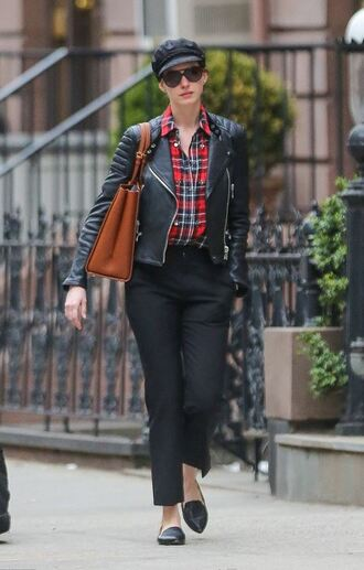 jacket anne hathaway pants shirt flats