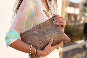 brown,cuir,pochette,pretty,blouse,retro,chiffon,viva luxury,skirt,bag,shoes,jewels