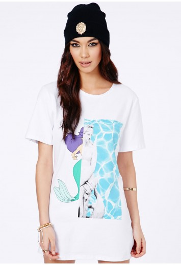Jasmine Mermaid And Aphrodite Print Tunic Dress - Dresses - T-Shirt Dresses - Missguided