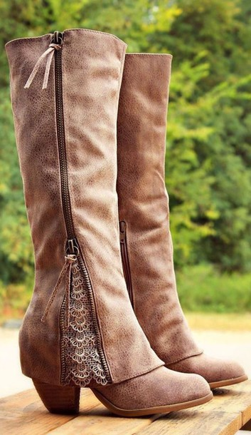 shoes brown boots mid heel boots