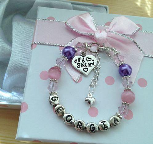 Personalised girls big sister little by charmingjewellery4u