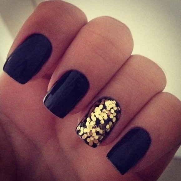 nail polish style black nail polish golden
