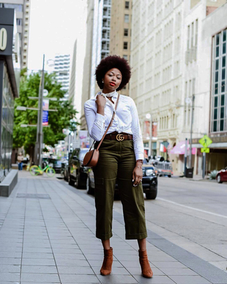 pants tumblr khaki khaki pants cropped pants shirt white shirt boots brown boots ankle boots crossbody bag brown bag