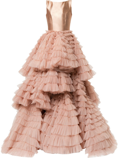 Isabel Sanchis gown women layered nude silk dress