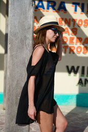 lovely pepa,blogger,off the shoulder dress,see through dress,black dress,dress,shoes,hat,bag,sunglasses