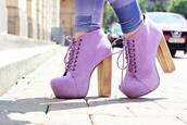 shoes,lavender,booties,laces,wooden heel,high heels,platform lace up boots,purple