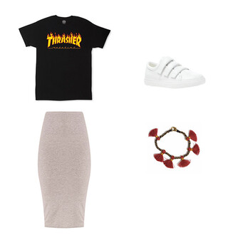 t-shirt black bodycon skirt skirt grey skirt white white sneakers bracelets tassel black t-shirt