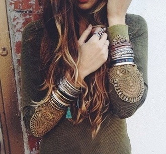 shirt green shirt hippie fashion long sleeves college sweater lace jumper clothes boho boho chic boho shirt hippie chic stacked bracelets top knitwear green elbow patches