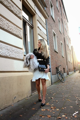 fashion twinstinct blogger belt jacket fur clutch tailoring office outfits ruffle
