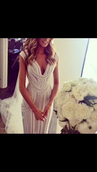 prom dress pearl dress pearl beaded dress beading wedding dress white dress