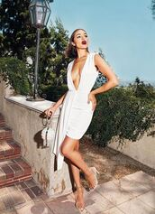dress,white,white dress,sandals,olivia culpo,asymmetrical,asymmetrical dress,instagram,summer dress,sexy dress,prom dress,mini dress