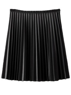 Black pu high waist pleat skirt