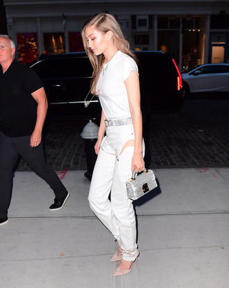 pants pumps top hairstyles gigi hadid belt model off-duty shoes