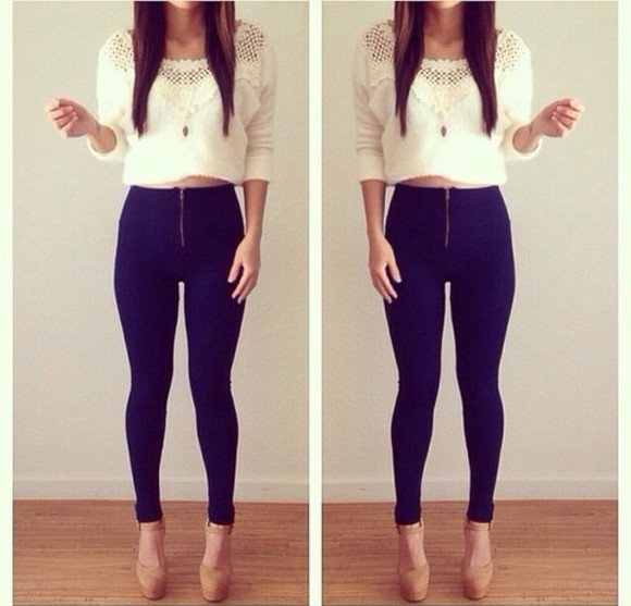 pants navy blue skinny pants leggins high waisted jeans white sweater pullover lace