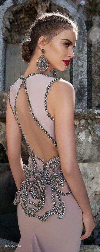dress halter back long dress wedding evening gown pastel glower sequin