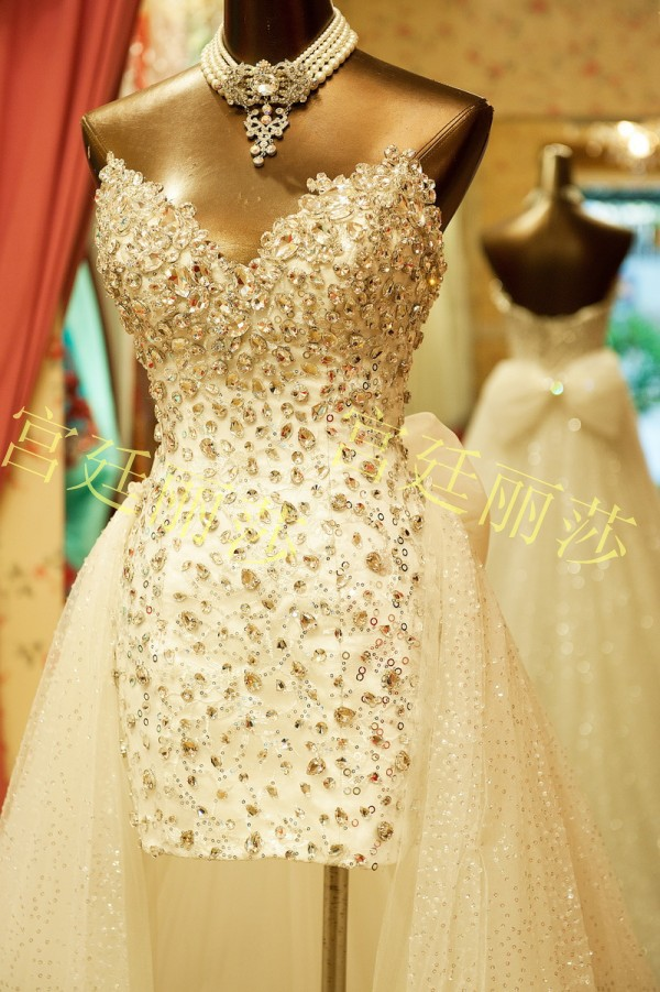 Aliexpress.com : buy luxury free shipping full crystal latest designer princess big train high low bridal wedding dress from reliable bridal wedding dress gown suppliers on christine le