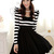 Elegant Black And White Striped Long Sleeve Dress on Luulla