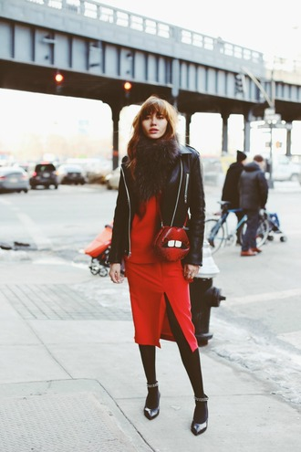 natalie off duty blogger red dress slit dress lips sweater skirt jacket bag scarf shoes