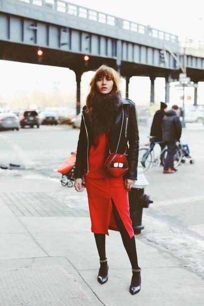 natalie off duty blogger red dress slit dress lips sweater skirt jacket bag scarf shoes