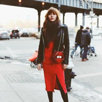 scarf sweater bag shoes jacket skirt red dress lips blogger natalie off duty slit dress scarf red