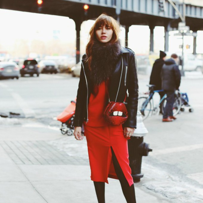 scarf jacket shoes sweater bag skirt lips blogger red dress natalie off duty slit dress scarf red
