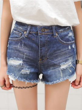 Blue High Waist Rip Frayed Denim Shorts - Choies.com