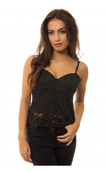 Liana Black Crochet Bralet Top - from The Fashion Bible UK