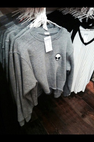 sweater alien grey sweater crop tops cropped crewneck cropped sweater cool