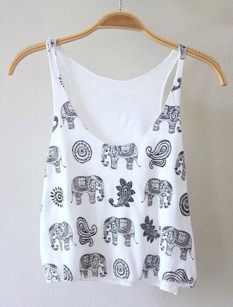 tank top elephants elephant top crop tops love hipster boho bohemian elephant top