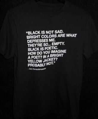 ann demeulemeester black t-shirt quote on it