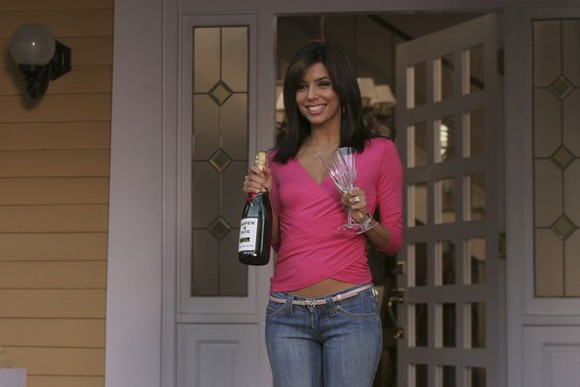 desperate housewives eva longoria pink sexy top hot pink top drape top crossover top v neck top v neck draped