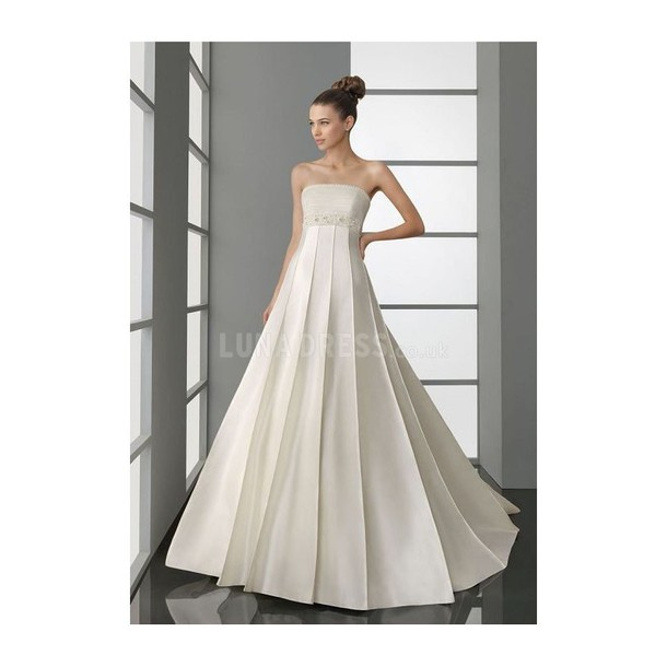 Dress Designer A Line Wedding Dresses Princess Strapless Chapel