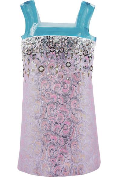 Paneled embellished jacquard mini dress