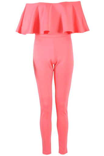 Brooklin Off The Shoulder Ruffle Jumpsuit In Coral - Pop Couture