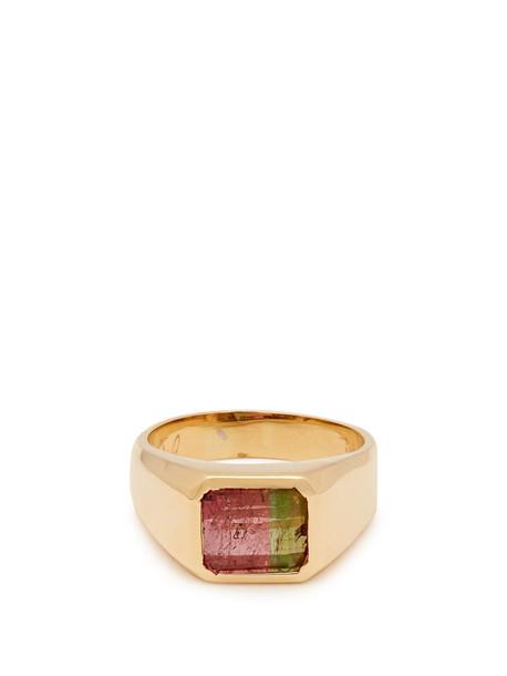 JACQUIE AICHE Tourmaline signet ring in green