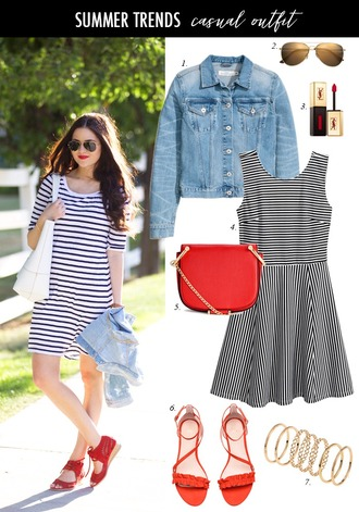 dailystylefinds blogger jewels top shorts shoes bag summer dress summer outfits denim jacket red bag striped dress red shoes