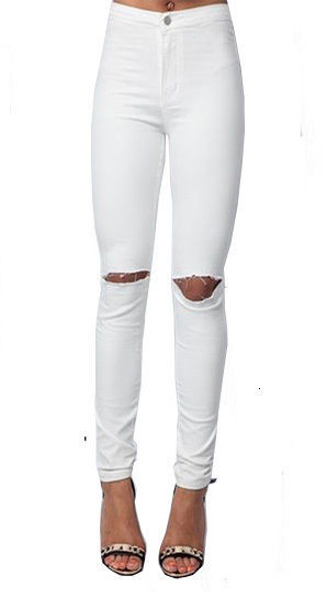 Lethalbeauty ? ripped knee high waist jeans