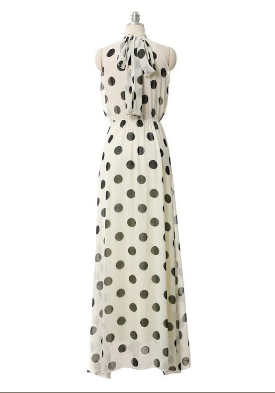 Polka dot halter design sleeveless maxi