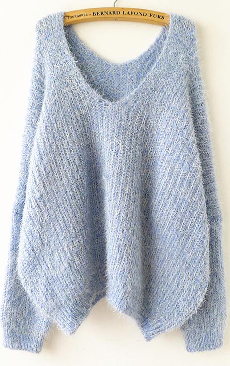 Sky blue long sleeve v neck oversize mohair sweater