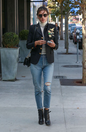 jacket,jeans,fall outfits,streetstyle,alessandra ambrosio,turtleneck,model off-duty,top,white turtleneck top