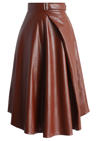 skirt neutral faux leather belted skirt in brown faux leather belted brown