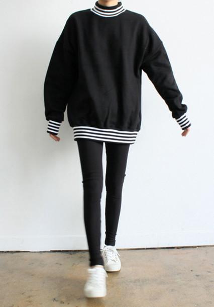 sweater black and white striped shirt black white white stripes