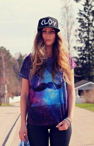 shirt galaxy moustache galaxy moustache hipster trendy vintage bohemian tye dye hair cap tumblr instagram girl love cute nice outfit streetwear streetstyle