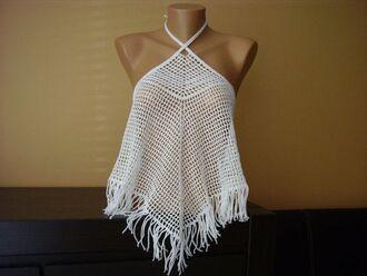 top crochet crochet top white crop tops beach top crop tops crochet crop top