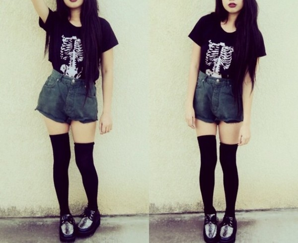 shoes High waisted shorts creepers cute t-shirt underwear shorts