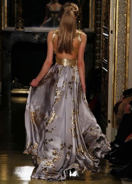 Dress Formal Purple Gold Dress Prom Dress Prom Gown Night